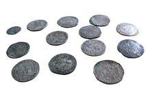Oude middeleeuwse geïsoleerdee muntstukken royalty-vrije stock afbeeldingen