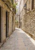 Oude middeleeuwse straat in Girona Royalty-vrije Stock Fotografie