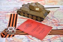 Oude militaire kaart van de USSR, orde van de Patriottische Oorlog in St Stock Foto