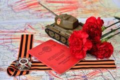 Oude militaire kaart van de USSR, orde van de Patriottische Oorlog in St Royalty-vrije Stock Foto's