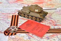 Oude militaire kaart van de USSR, orde van de Patriottische Oorlog in St Stock Afbeeldingen