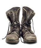 Oude militaire laarzen Stock Fotografie