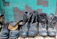Oude militaire schoen royalty-vrije stock foto's