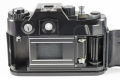 Oude 35mm SLR camera met open rugdekking Royalty-vrije Stock Fotografie