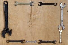 Oude moersleutels Royalty-vrije Stock Afbeeldingen
