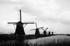 Oude molens van Kinderdijk Stock Afbeeldingen