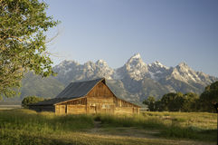 Oude Mormoonse schuur in Wyoming dichtbij tetons Royalty-vrije Stock Afbeeldingen