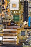 Oude motherboard van de computer dichte omhooggaand royalty-vrije stock afbeelding