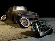Oude motor en auto Royalty-vrije Stock Foto