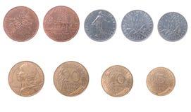 Oude muntstukken aan Frankrijk royalty-vrije stock foto's