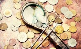Oude muntstukken, numismatiek royalty-vrije stock foto
