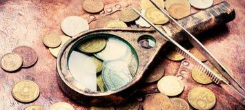 Oude muntstukken, numismatiek royalty-vrije stock afbeelding