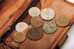 Oude muntstukken van Europa Stock Afbeelding