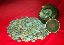 Oude muntstukken van koning rajarajan in museum bij het complexe paleis van thanjavurmaratha Stock Fotografie