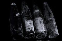 Oude Murfatlar-wijnflessen vanaf 1976, close-up royalty-vrije stock foto's