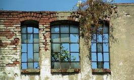 Oude muur met gebroken vensters Stock Foto's