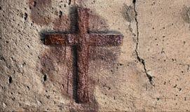 Oude Muur met Kruis Royalty-vrije Stock Fotografie