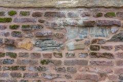 Oude muur met mos Royalty-vrije Stock Foto's