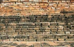 Oude Muur op Ayutthaya-tempel Thailand Stock Afbeelding