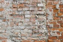 Oude muur van rode baksteen Stock Foto