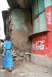 Oude muurschilderingen met Coca-cola in Ethiopië Stock Fotografie