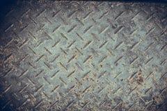 Oude Naadloze de plaattextuur van de staaldiamant, zwart-witte roestig Stock Afbeelding