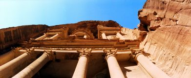 Oude Nabataean-de Schatkistpetra van Erfenisgr Khazna & x28; Jordan& x29; royalty-vrije stock fotografie