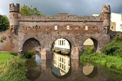 Oude Nederlandse stadspoort Berkelpoort in Zutphen Royalty-vrije Stock Afbeelding
