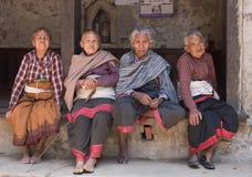 Oude Nepalese vrouw vier Royalty-vrije Stock Afbeeldingen