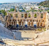 Oude Odeon van Herodes Atticus in Athene, Griekenland stock foto