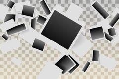 Oude omhoog geworpen foto's en vallend Uitstekende stijl illustratie van dalende foto's stock illustratie