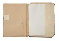 Oude omslag met stapel documenten stock foto's