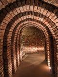 Oude ondergrondse brickstonekerker Royalty-vrije Stock Fotografie