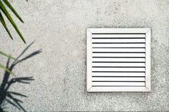 Oude opening met witte blinden op de achtergrond van grijs beton onder bladeren van de palm royalty-vrije stock fotografie