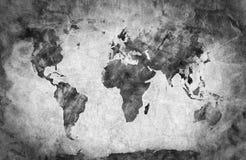 Oude, oude wereldkaart Potloodschets, uitstekende achtergrond Stock Foto's