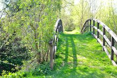 oude ovale houten brug 1 Stock Afbeelding