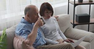 Oude paar het drinken koffie en het gebruiken van laptop op bank stock footage
