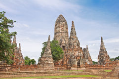 Oude pagode in geruïneerde oude tempel Royalty-vrije Stock Fotografie