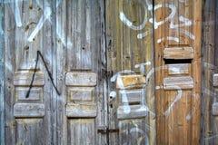 Oude pakhuis houten deur Stock Fotografie