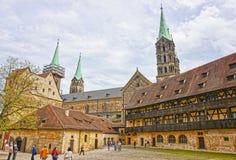 Oude paleis en van Bamberg Kathedraal in het de stadscentrum van Bamberg royalty-vrije stock fotografie
