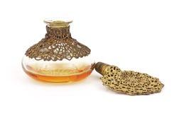 Oude parfumfles met kurk stock fotografie