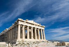 Oude Parthenon in Akropolis Athene Griekenland op bl Stock Afbeelding