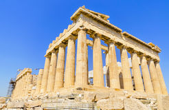 Oude Parthenon-tempel. Athene, Griekenland. Royalty-vrije Stock Afbeelding