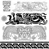 Oude patronen met mayan goden royalty-vrije stock afbeeldingen