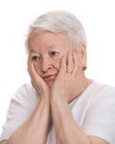 Oude peinzende vrouw Royalty-vrije Stock Afbeelding