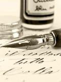 Oude pen en retro kalligrafie. Royalty-vrije Stock Foto