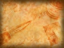 Oude pen en retro kalligrafieachtergrond Stock Afbeeldingen
