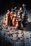 Oude pepermolennen met zwarte en Spaanse peper stock foto's