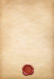 Oude perkamentdocument achtergrond met rode wasverbinding Royalty-vrije Stock Fotografie