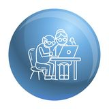Oude persoon op laptop conceptenachtergrond, overzichtsstijl royalty-vrije illustratie